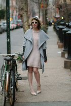 heather gray Zara coat - light pink French Connection dress
