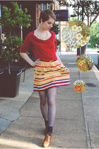 mustard Urban Outfitters skirt - ruby red cowl neck banana republic shirt