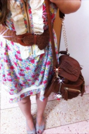 pink floral dress unknown brand dress - dark brown unknown brand bag - periwinkl