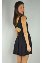 Cut Out Bow Back Dress - Black