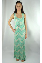Aztec Chevron Print Maxi Dress - Mint