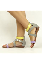 Colorful Patent Strappy Sandals - Gray/Multi