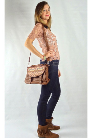 light pink HCB top - camel HCB boots - navy HCB jeans - brown HCB bag