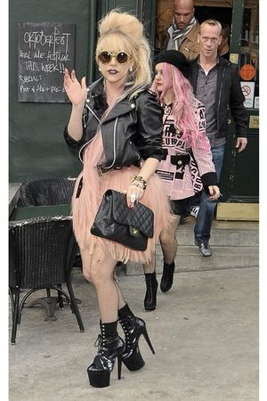 pink dress - black boots - black jacket - black Chanel bag - gold sunglasses