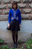 blue Pendleton cardigan - black vintage boots - black vintage dress