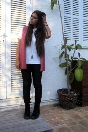 pink long knitted Thrift Shop vest - black doc martens thrifted boots