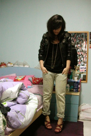 Topshop jacket - jeans - f21 necklace - Old Navy shoes