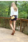 White-blouse-blue-banana-republic-shorts-brown-cynthia-vincent-for-target-sh
