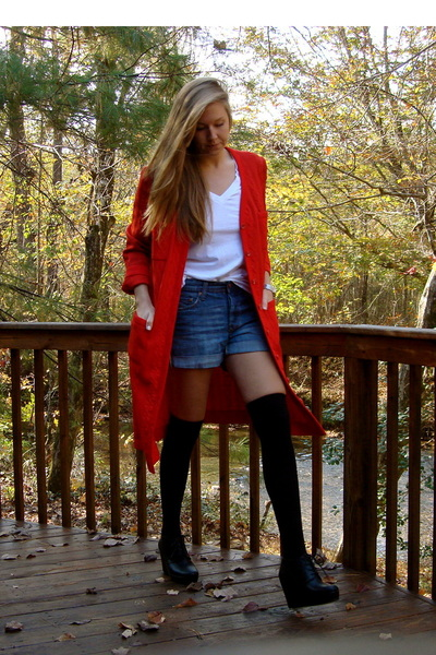 red vintage 60s sweater - white Hanes shirt - blue H&M shorts - black Target soc