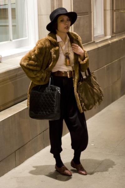 jacket - black cotton on pants - belt - shoes - white shirt - Deena & Ozzy hat