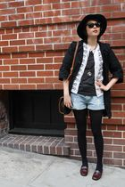 Burberry Blue Label coat - Kookai cardigan - H&M shorts - Deena & Ozzy hat - Bru