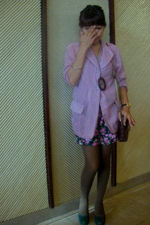 pink iconia blazer - green shorts - brown leggings - brown accessories - gold go