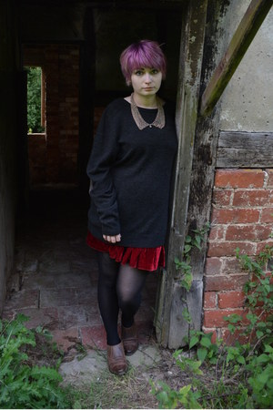 charcoal gray Topman jumper - ruby red Glamorous skirt