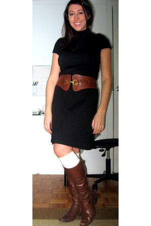 banana republic dress - Urban Outfitters belt - H&M socks - Lord&Taylor boots