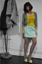 turquoise blue Gap sweater - dark khaki lilla p shirt - lime green Urban Outfitt