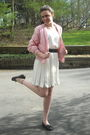 White-vintage-dress-pink-lacoste-jacket-blue-vintage-belt-purple-gap-tight