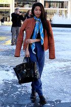 leather Chaser jacket - madewell scarf - 31 Phillip Lim bag - Kahlo pants