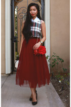 evening JustFab bag - tulle Boohoo skirt - plaid Boohoo top