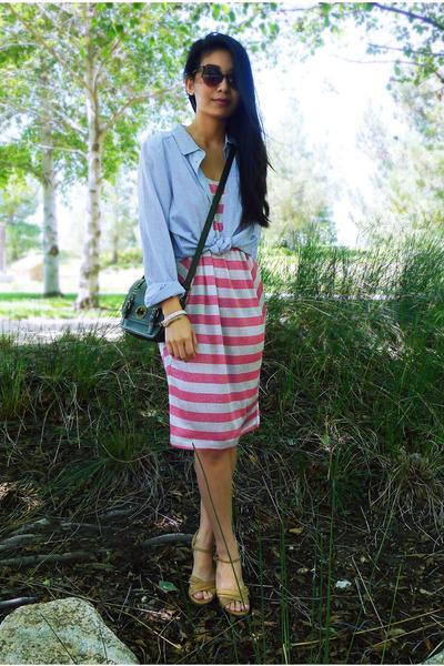 pink striped asos dress