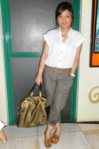 dark khaki YSL bag - white top - dark gray Loft pants