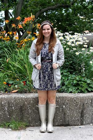 beige Hunter boots - navy asos dress - heather gray Fossil jacket