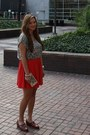 White-leopard-shirt-forever-21-shirt-red-urban-outfitters-skirt