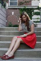 white leopard shirt Forever 21 shirt - red Urban Outfitters skirt