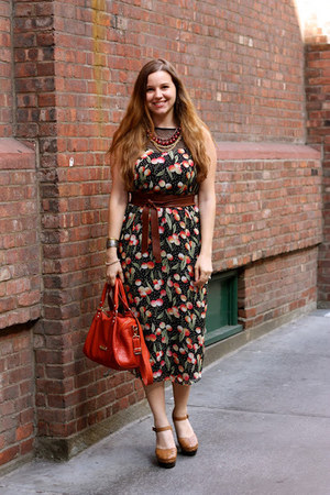 black asos dress - burnt orange Steve Madden bag - brick red H&amp;M necklace