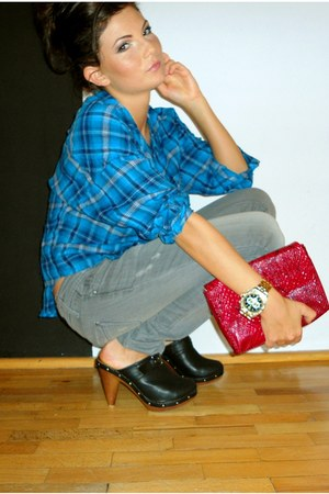 checkered H&M shirt - snake skin Atmosphere purse - grey Stradivarius pants