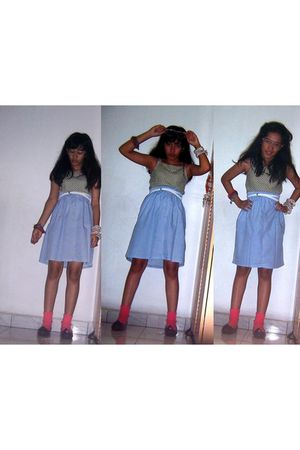 green Vintage costume top - blue handmade skirt - white PANELLI belt - pink from