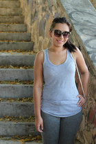 gray LOB jeans - tan Zara bag - black random sunglasses - black Bamboo wedges -