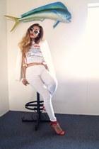 ivory Zara blazer - ivory cateye sunglasses - ruby red Zara sandals