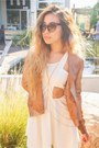 Cut-out-dress-camel-leather-trouve-jacket-sunglasses-accessories