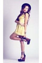 light yellow chiffon ruffled dress - black H&M hat