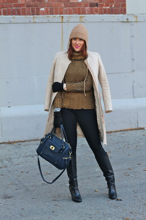 mustard turtleneck Pure Knits sweater - black high heel banana republic boots