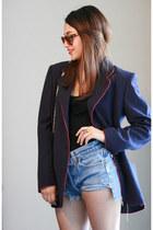 navy designer blazer Valentino blazer - nude studs Rebecca Minkoff purse