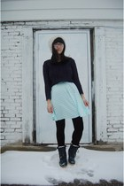 navy TJ Maxx boots - navy TJ Maxx sweater - mint kohls skirt