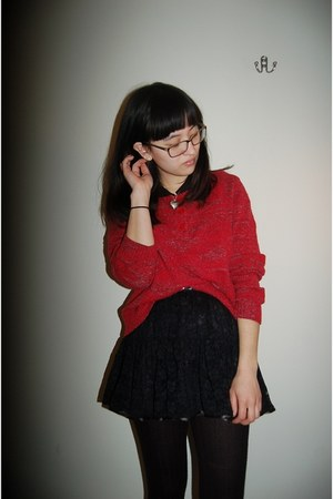 red thrifted sweater - black lace Boscovs skirt