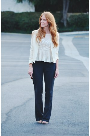 cream blazer - cream peplum blouse - grey pants