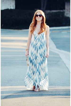 tan peep toe ankle Steve Madden boots - sky blue dreamlike maxi dress