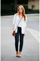 cream Zara blazer - brown ankle Steve Madden boots