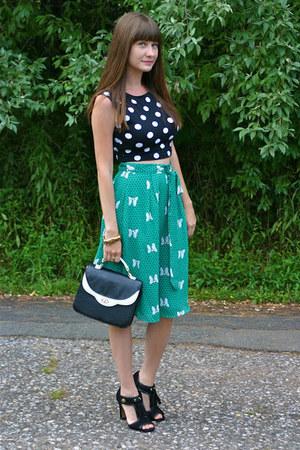 black Forever 21 top - black coach heels coach heels - green modcloth skirt