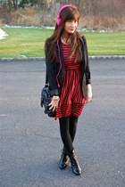 gold Henri Bendel necklace - black modcloth boots