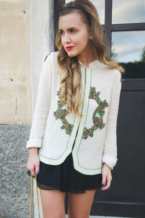 black H&M skirt - ivory april may blazer - black Accessorize hair accessory