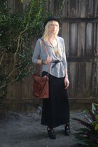 black Forever 21 hat - black maxi skirt thrift skirt - heather gray Forever 21 t