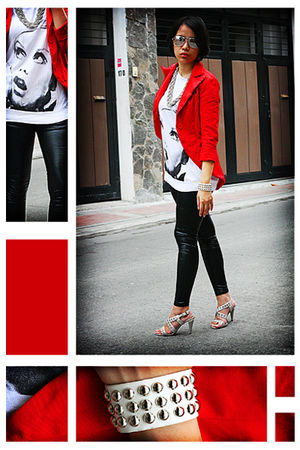 heather gray shoes - red blazer - accessories