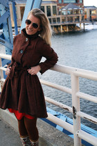 crimson coat - brown boots - ruby red dress - brown tights