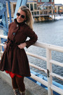 Brown-boots-ruby-red-dress-crimson-coat-brown-tights