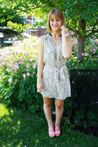 eggshell dress - bubble gum wedges
