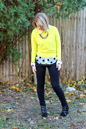 yellow Forever 21 sweater - black Marshalls pants - black BDG wedges